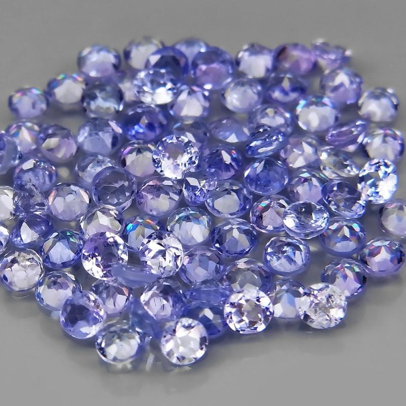 5.76Ct. / 2.2-2.3mm.Natural Tanzanite Color&Full Fire Purplish Blue -100Pcs