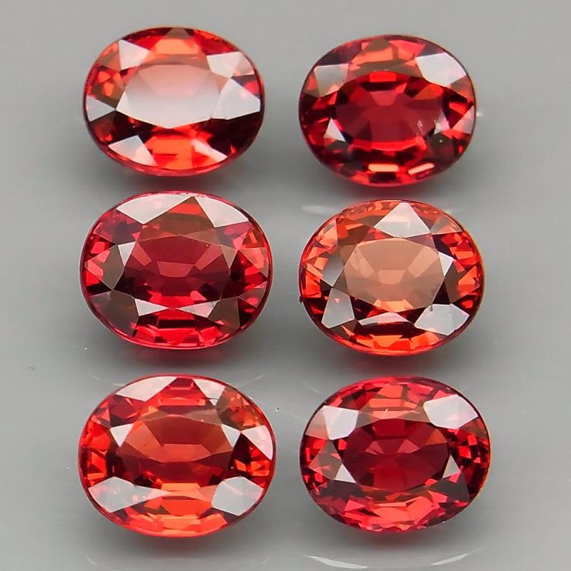 9.15 ct. 100% Natural Earth Mined Red Rhodolite Garnet Africa  - 6 Pcs