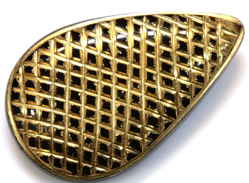 32 CTS BLACK ONYX  24K GOLD ENGRAVED  LG-854