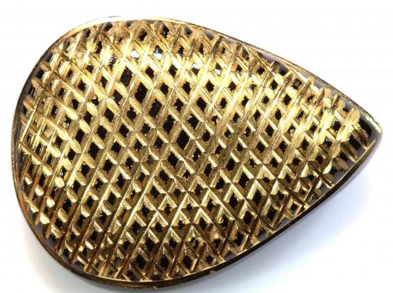 32 CTS BLACK ONYX 24K GOLD ENGRAVED  LG-855