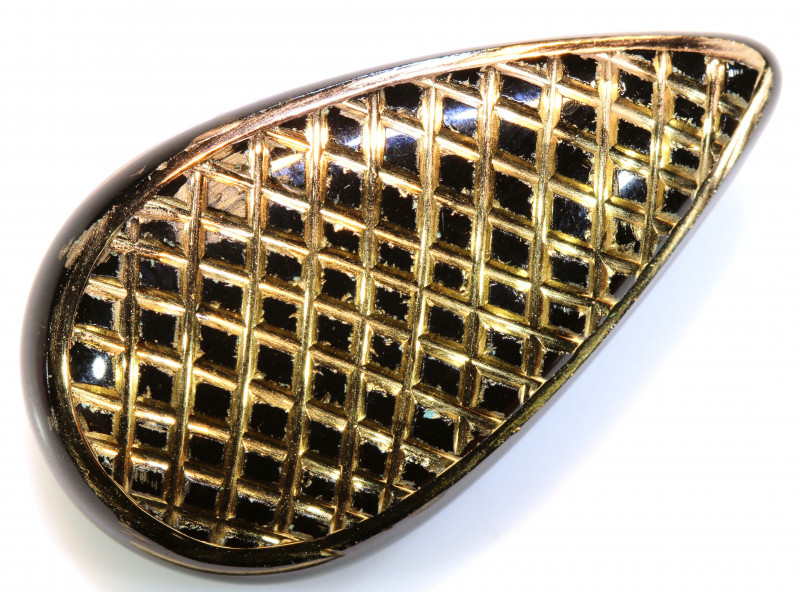 33 CTS BLACK ONYX  24K GOLD ENGRAVED  LG-870