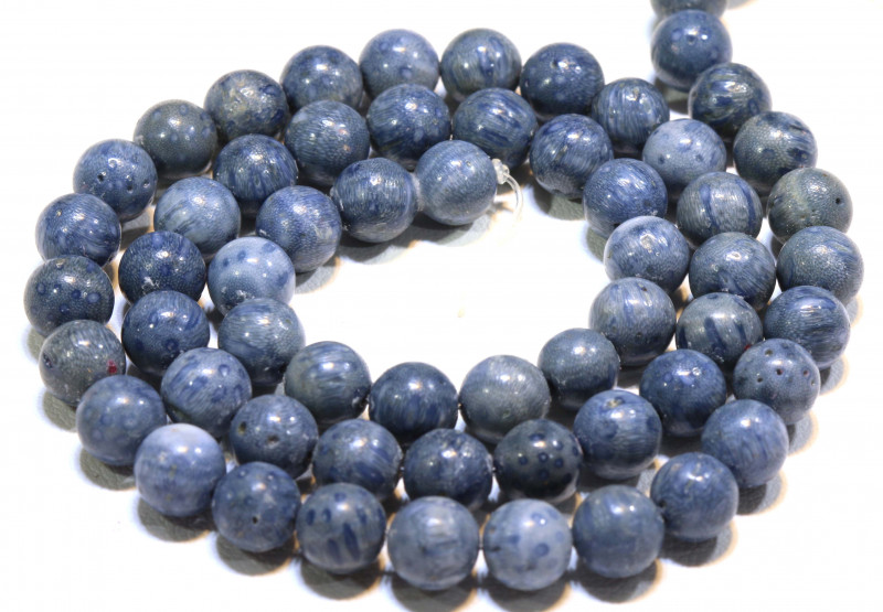 125 CTS BLUE CORAL BEAD STRAND  LG-884