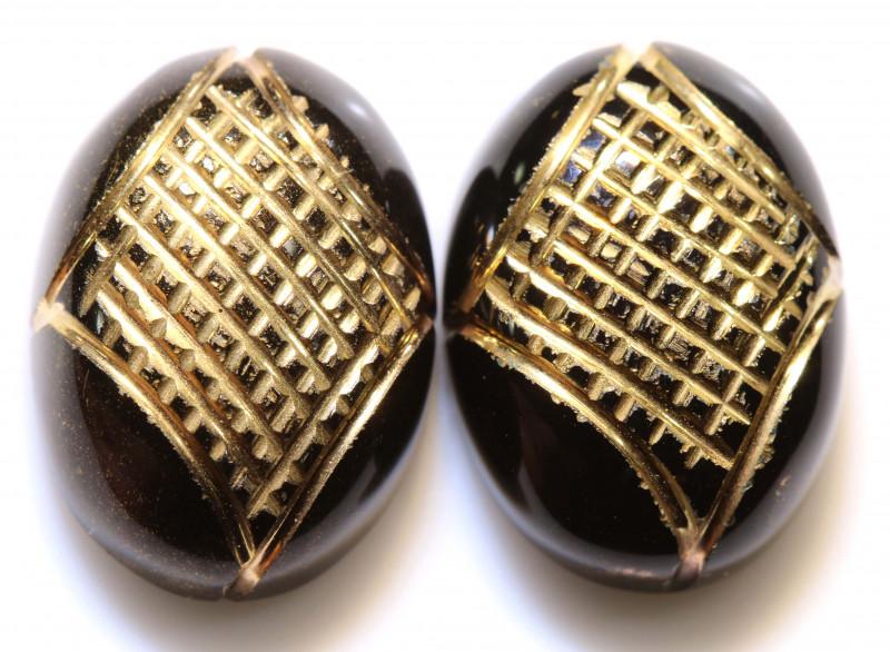 23 CTS BLACK ONYX   24K GOLD ENGRAVED (2PCS )  LG-891