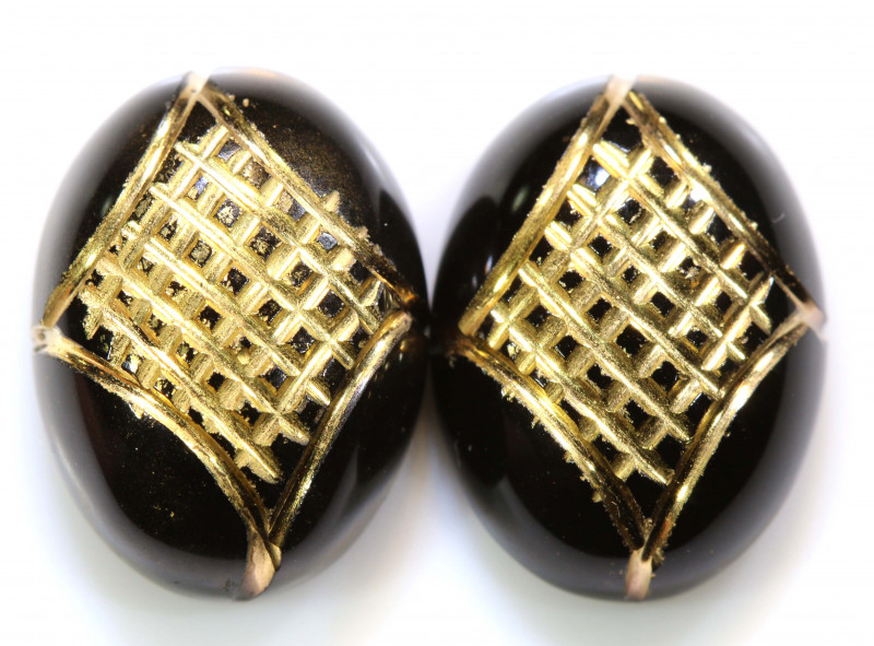 18 CTS  BLACK ONYX  24K GOLD ENGRAVED ( 2PCS ) LG-893