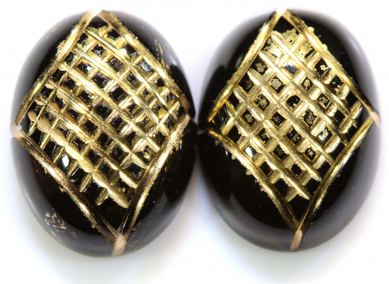 18 CTS BLACK ONYX  24K GOLD ENGRAVED (2 PCS )  LG-897