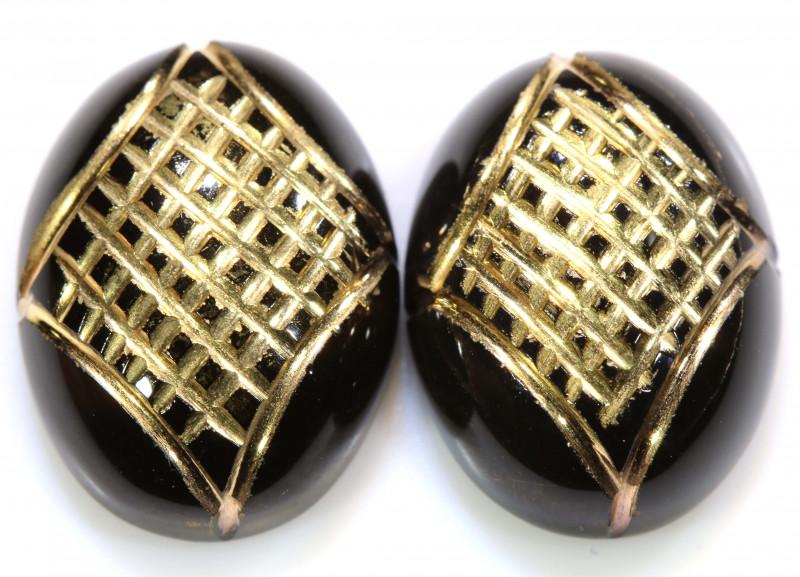 15 CTS BLACK ONYX  24K GOLD ENGRAVED ( 2 PCS )  LG-899