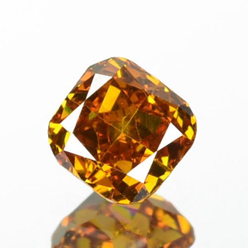 ~UNTREATED~ 0.19 Cts Natural Cognac Orange Diamond Cushion Africa VS2