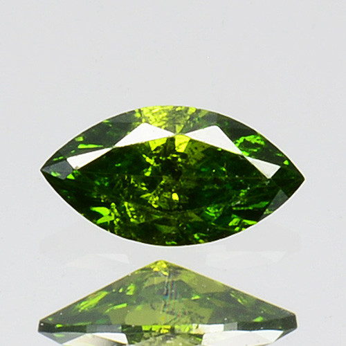 Stunning!! 0.13 Cts Natural Diamond Vivid Green Marquise Africa
