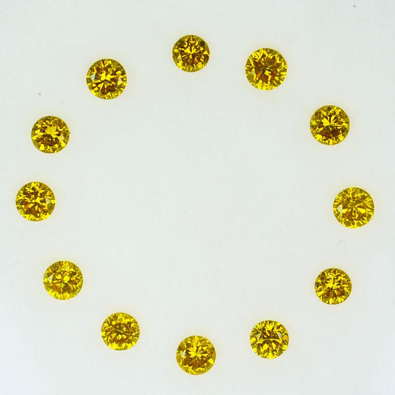 1.02Cts Natural Sparkling Yellow Diamond  12Pcs Round 2.50 mm -3.00 mm Afri