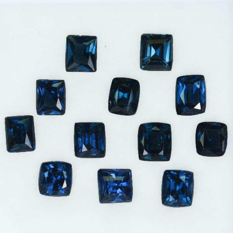 6.08 Cts Natural Deep Blue Spinel 12Pcs Cushion Cut Sri Lanka