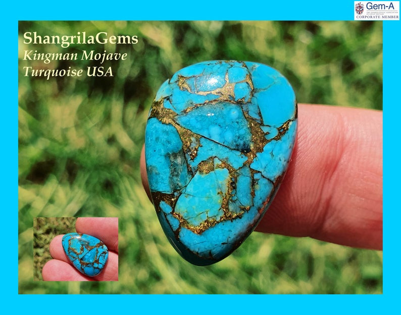24mm Mojave Kingman Turquoise cabochon freeform trillion 24 by 17 by 5mm 17