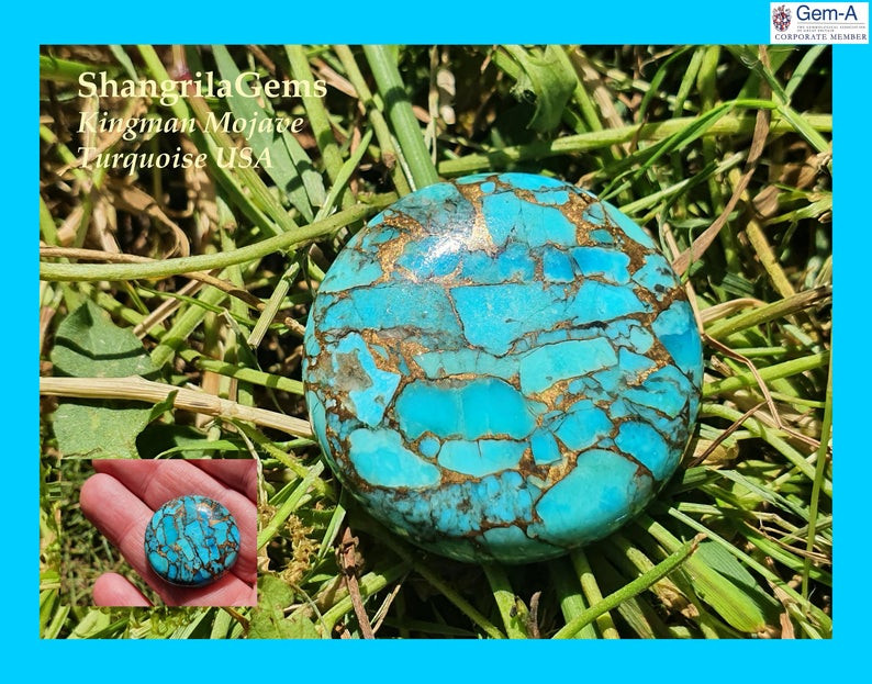 25mm Mojave Turquoise cabochon round 25mm by 6mm 29ct