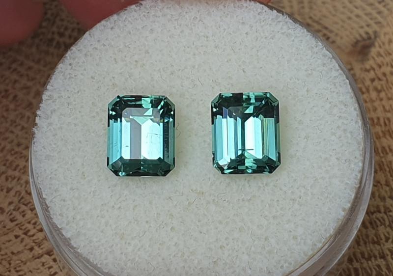 4,94ct greenish blue Tourmaline pair - Master cut & rare colour!