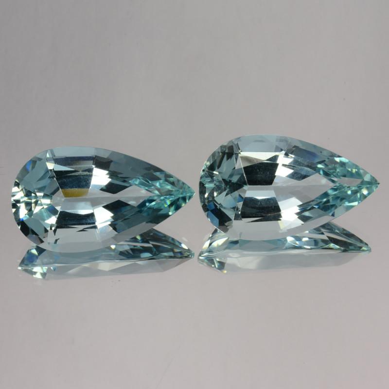 28.20Ct Natural Blue Aquamarine Pear pair Brazil