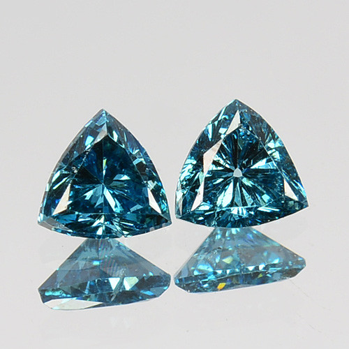 Pretty!!!  0.23 Cts Natural Diamond Greenish Blue 2Pcs Trillion Africa