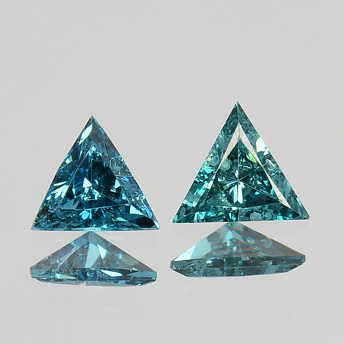 0.16 Cts Natural Diamond Greenish Blue 2Pcs Trillion 3mm Africa