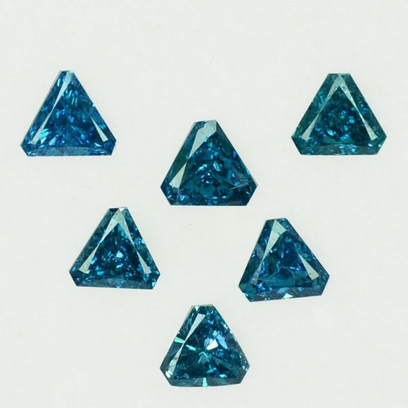 0.43 Cts Natural Diamond Greenish Blue 6Pcs Trillion Africa
