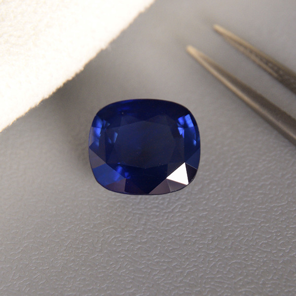8.21ct Natural Blue Sapphire, Deep Velvety Blue /Cushion Mixed Cut (01753)