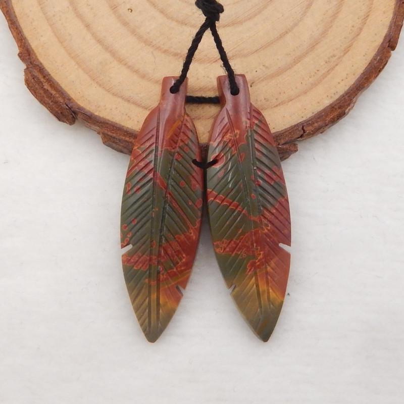 32cts Carved Leaf Earrings,Multi Color Jasper Handcarved Leaf Earrings H084