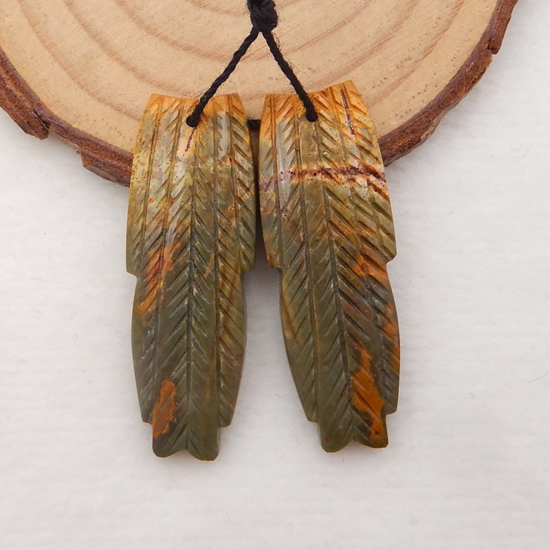 43cts Carved Leaf Earrings,Multi Color Jasper Handcarved Feather Earrings H