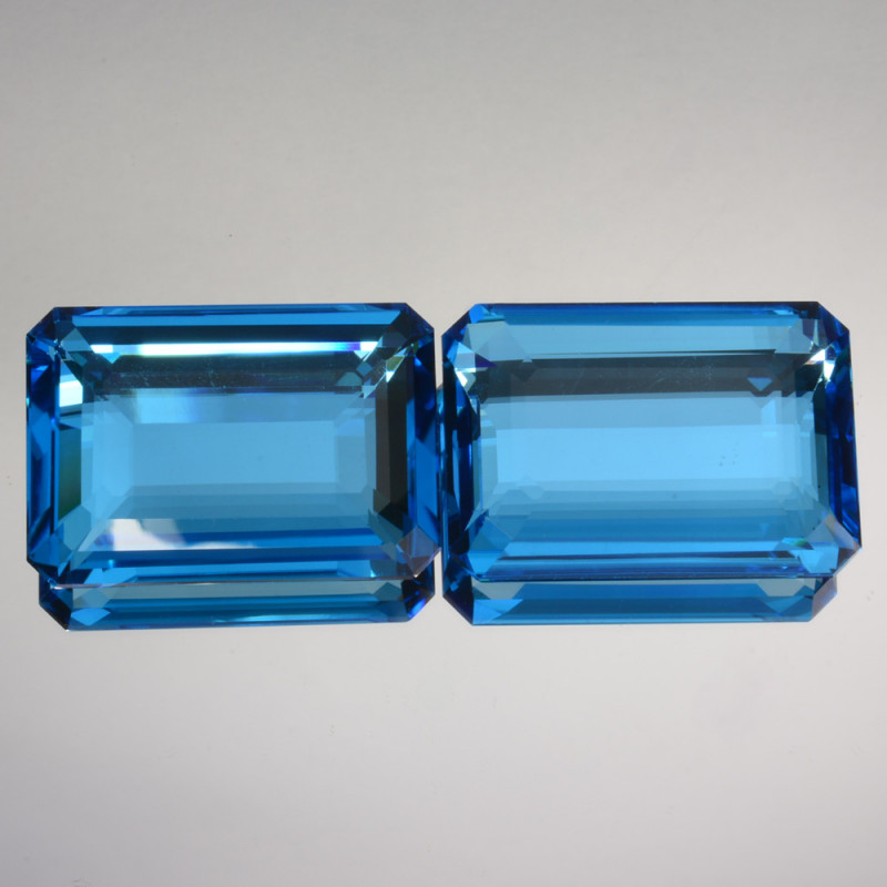 91.40 Cts Natural Swiss Blue Topaz Octagon pair USA