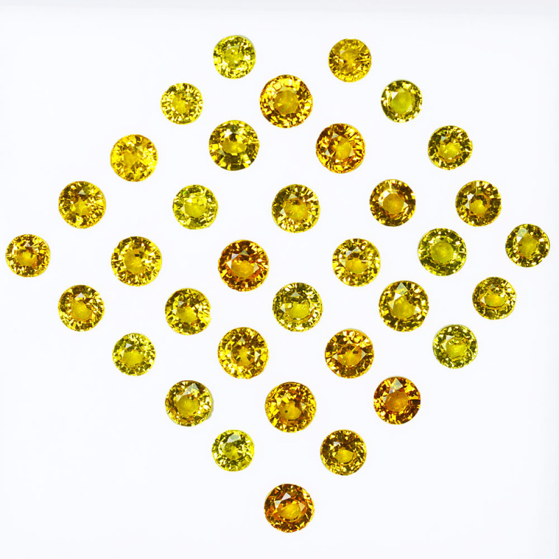 7.97Cts Natural Vivid Yellow Sapphire 3.50mm Round Cut 35pcs