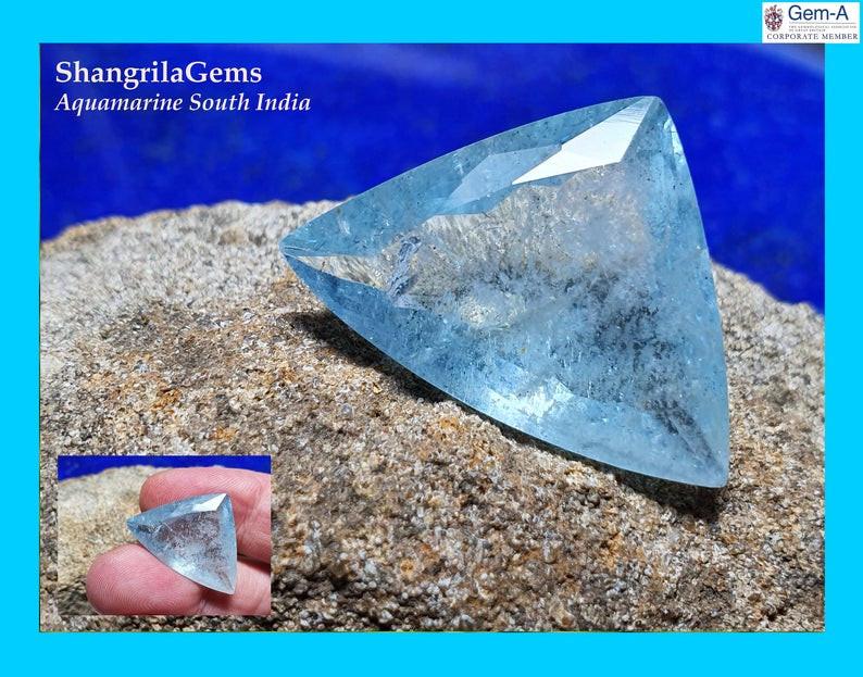 24mm Aquamarine Trillion gemstone 16.8ct from Tamil Nadu South India