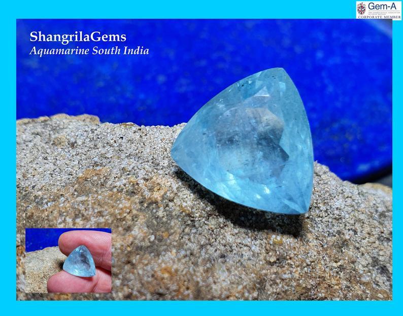 14.7mm Aquamarine Trillion gemstone 8.78ct from Tamil Nadu South India 14 b