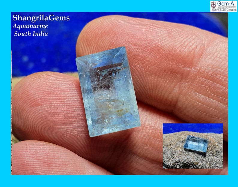 14.5mm Aquamarine rectangle emerald cut gemstone 7.46ct from Tamil Nadu Sou