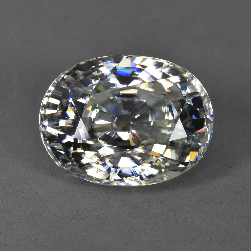 22.40 Cts Excellent Natural Unheated White Zircon Oval~Sparkling !!