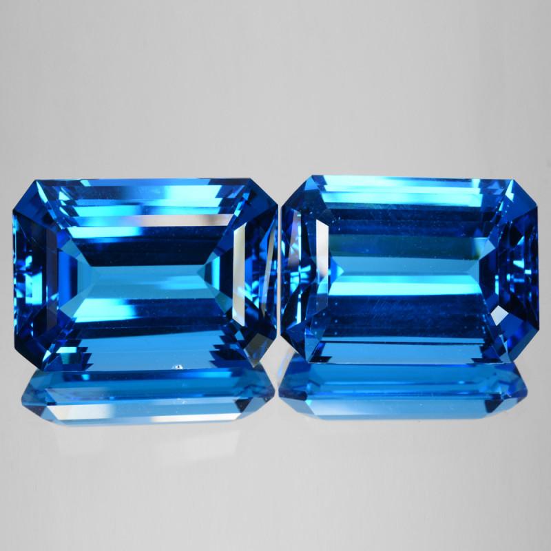 ~BEAUTIFUL~ 55.30 Cts Natural Topaz Super Swiss Blue 20 X 14mm Octagon PAIR