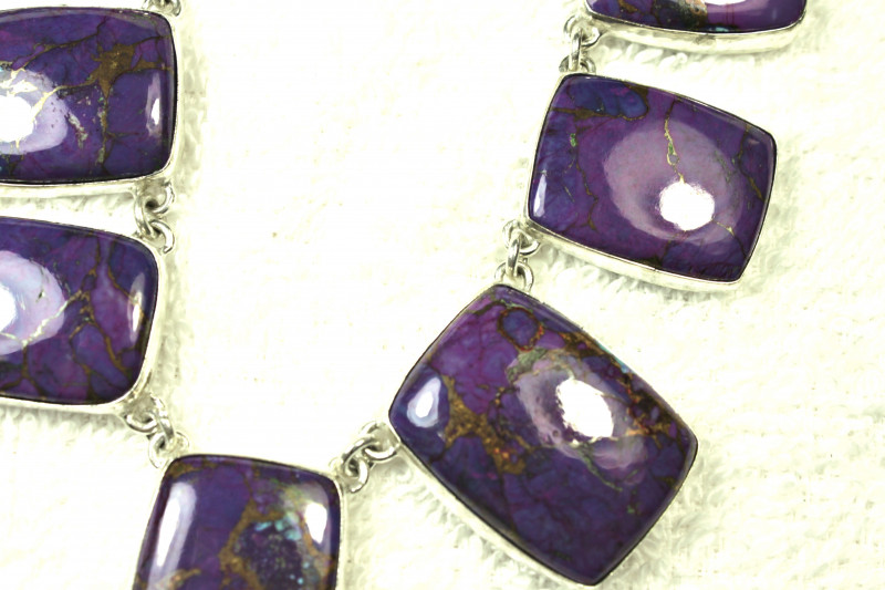 Copper Purple Turquoise 925 Sterling Silver Necklace - Gorgeous