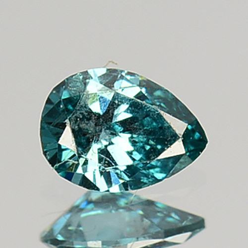 Stunning!!!  0.09 Cts Natural Diamond Greenish Blue Pear A