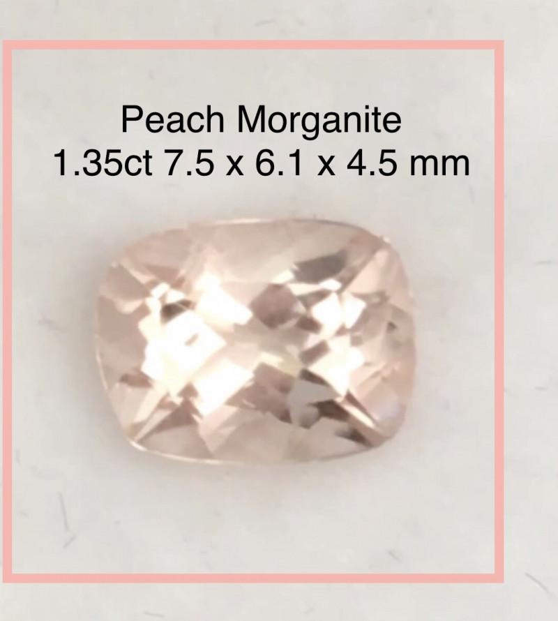 Luminous Cushion Cut Peach Morganite