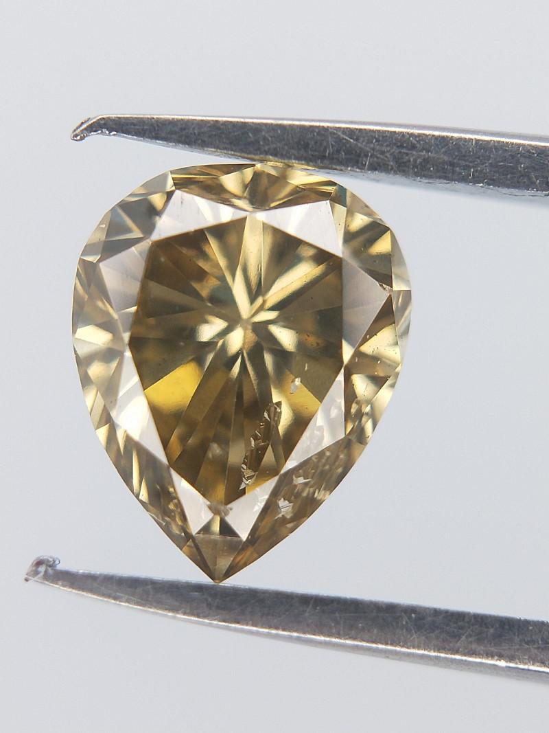 0.42 cts , Champagne Colour Diamond , Pear Brilliant Cut , Dazzle Diamond