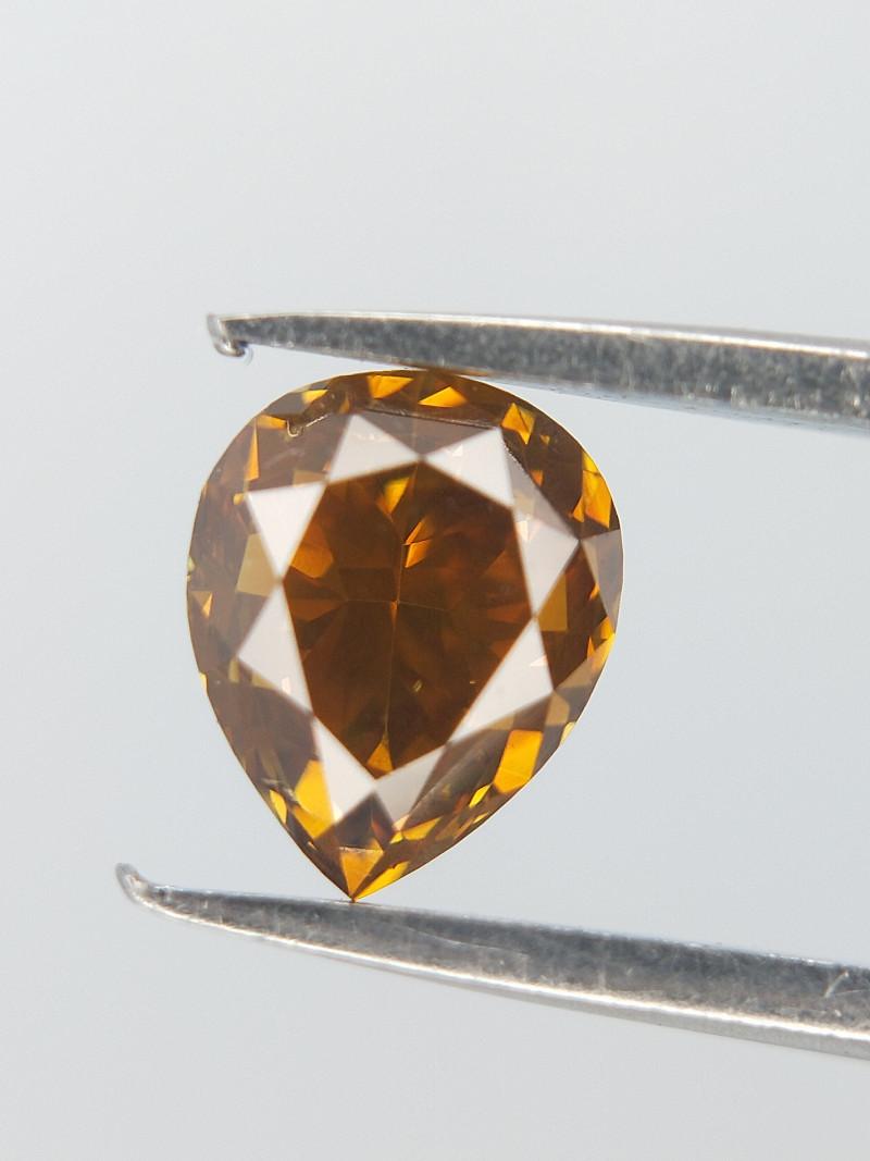 Autumn Leaf Diamond , Pear Brilliant Cut , Orange Shade Diamond , 0.38 cts