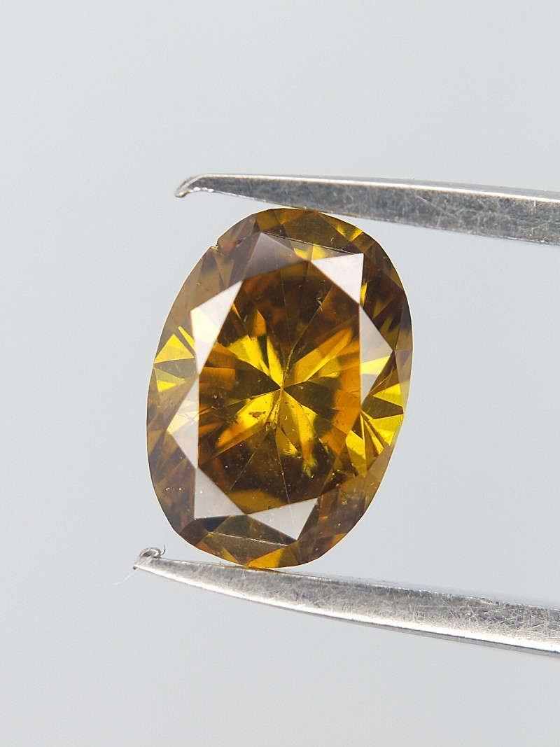 Fierce Oval Diamond ,Greenish Yellowish Orange Bold Colour , Oval Brilliant