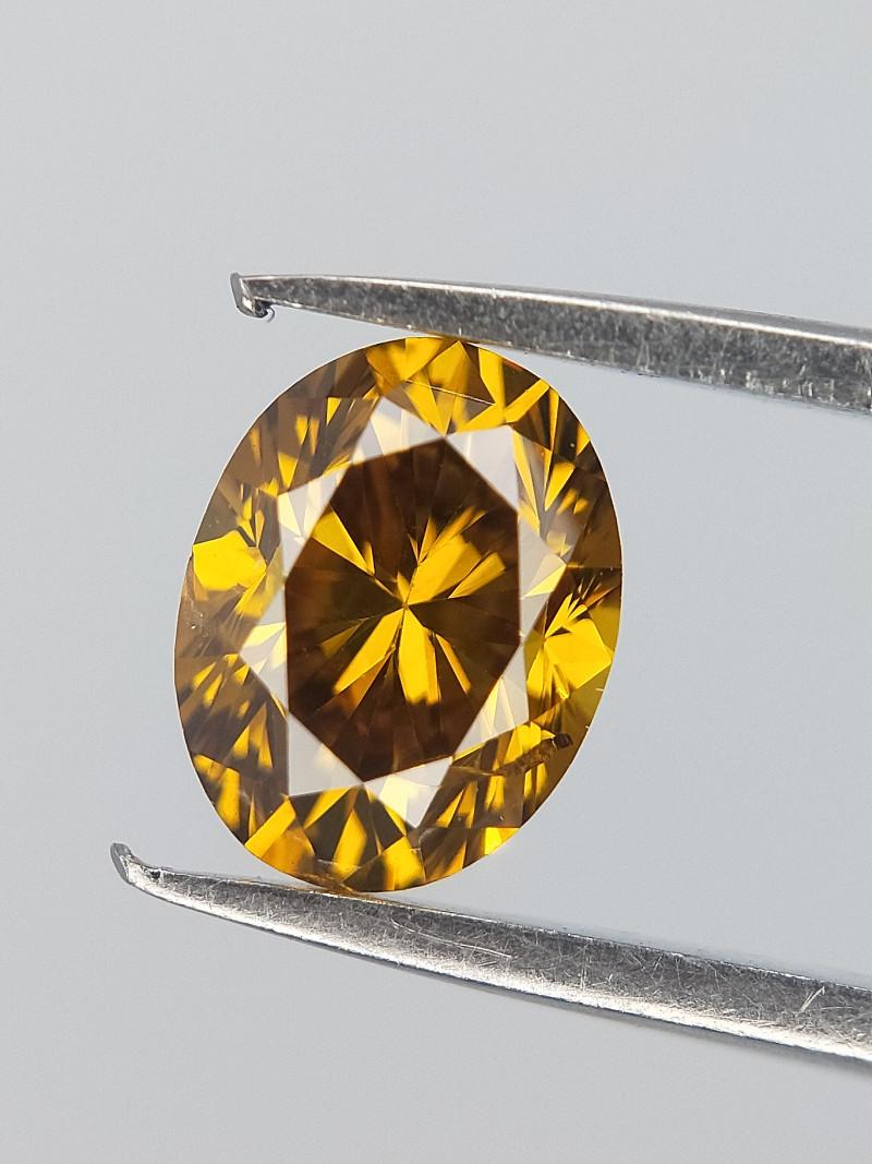 Bright Sparkle Diamond , Oval Brilliant Cut , Greenish Orange Colour , 0.35