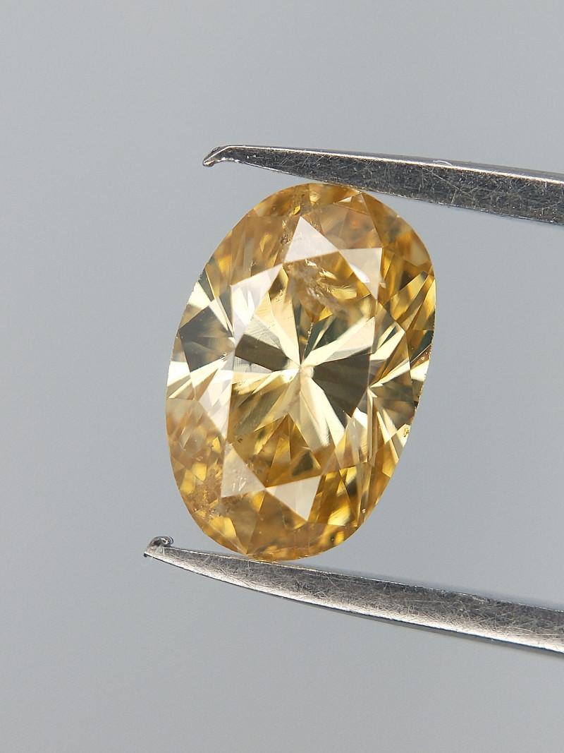 Oval Brilliant Cut , Mild Champagne Diamond , 0.37 cts