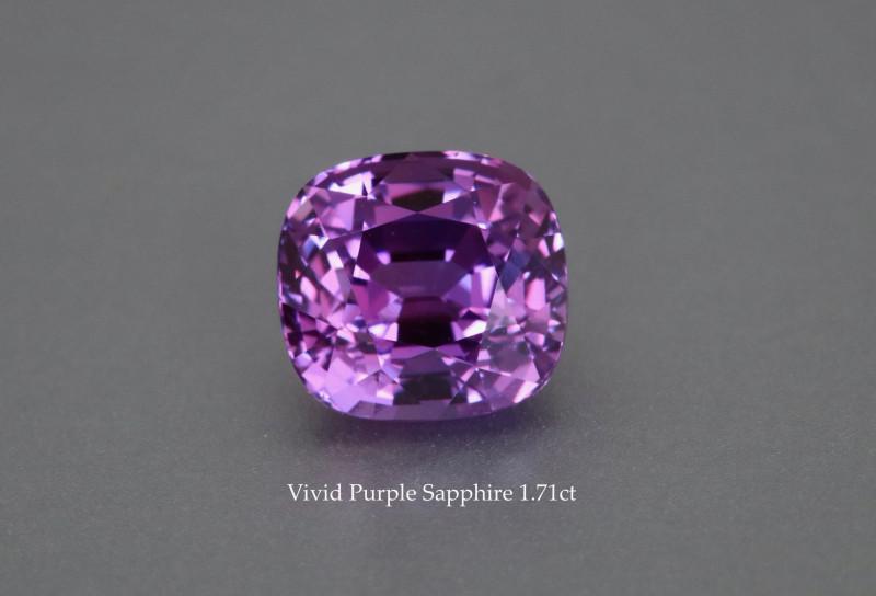 Unheated Vivid Purple Sapphire - 1.71ct - Cushion  - Eye Clean - GRS Certif