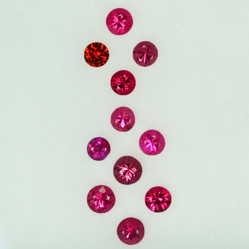 Vibrant Pink!0.68Cts Natural Pinkish Red 2.50mm Spinel Round 11Pcs Parcel