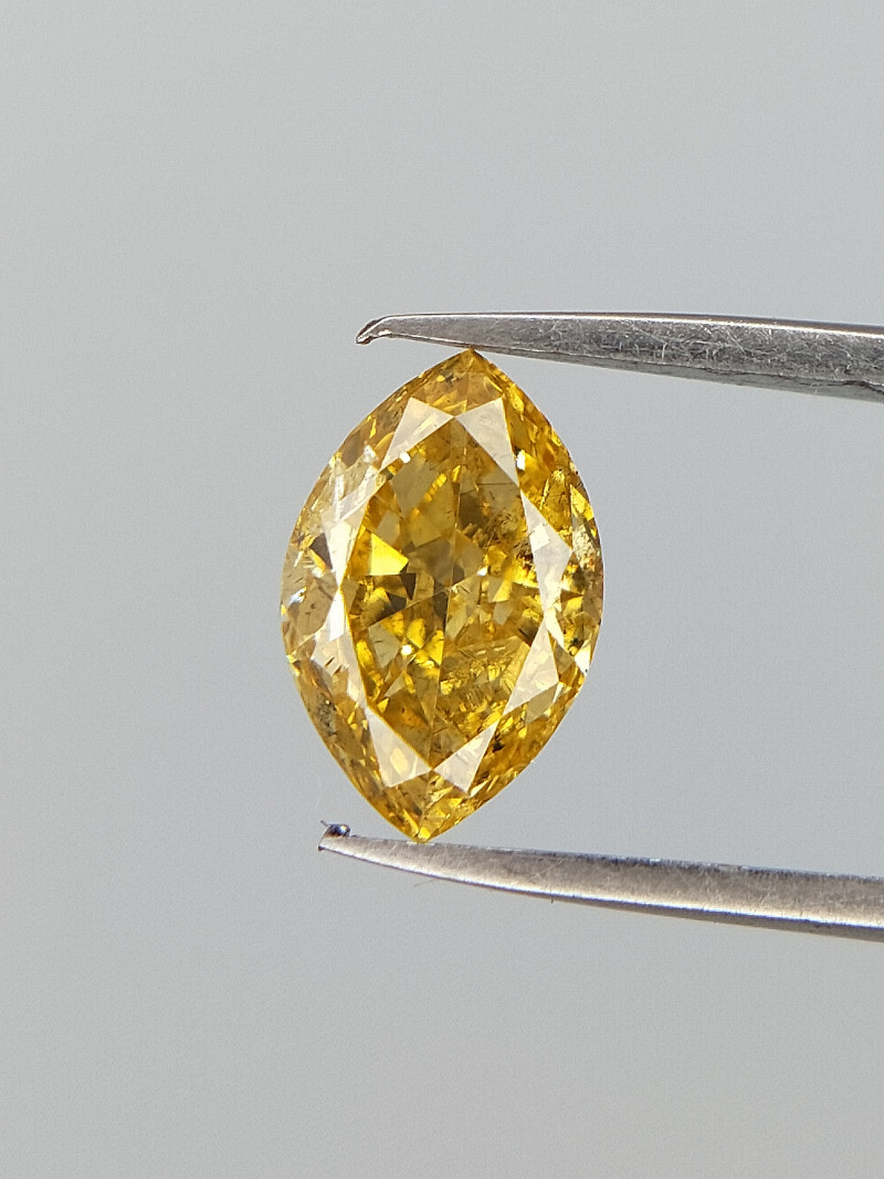 Marquise Brilliant Cut , Bright Yellow Diamond , 0.34 cts