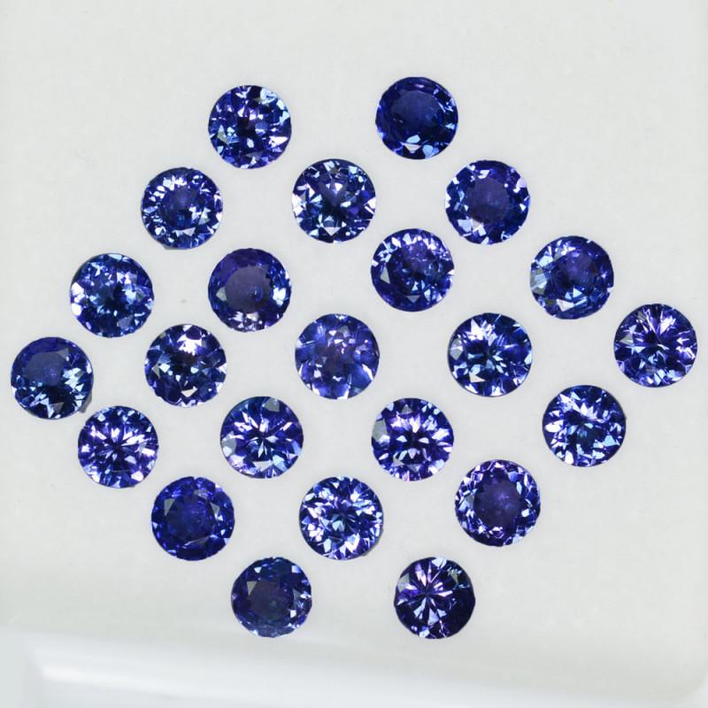 10.15Cts Natural Purple Blue Tanzanite 5mm Round 23Pcs Tanzania