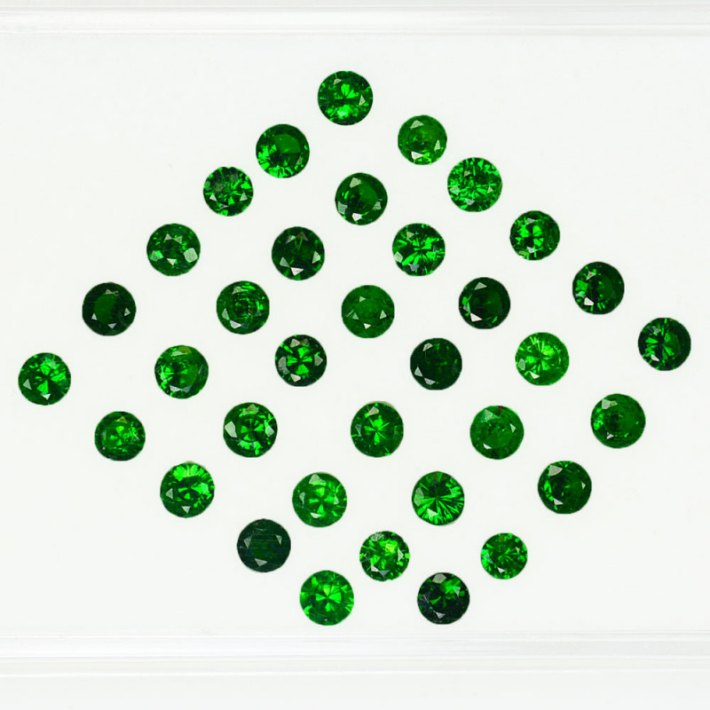 3.08 Cts Natural Top Green Tsavorite Garnet Round 2.80mm Parcel Kenya
