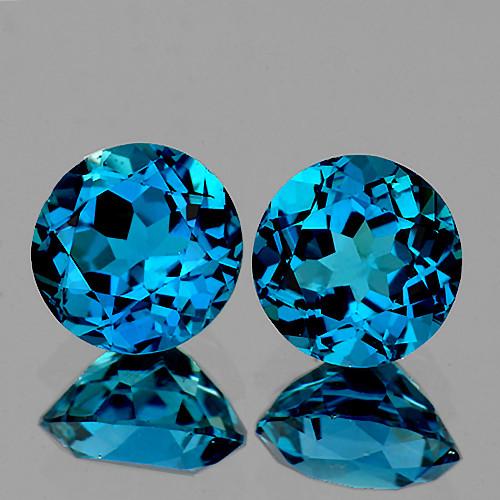 8.00 mm Round 2 pcs 4.39cts London Blue Topaz [VVS]