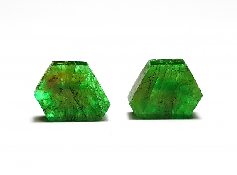 Amazing Natural color lovely Emerald Pair Slice 4.25 Cts-Afghanistan