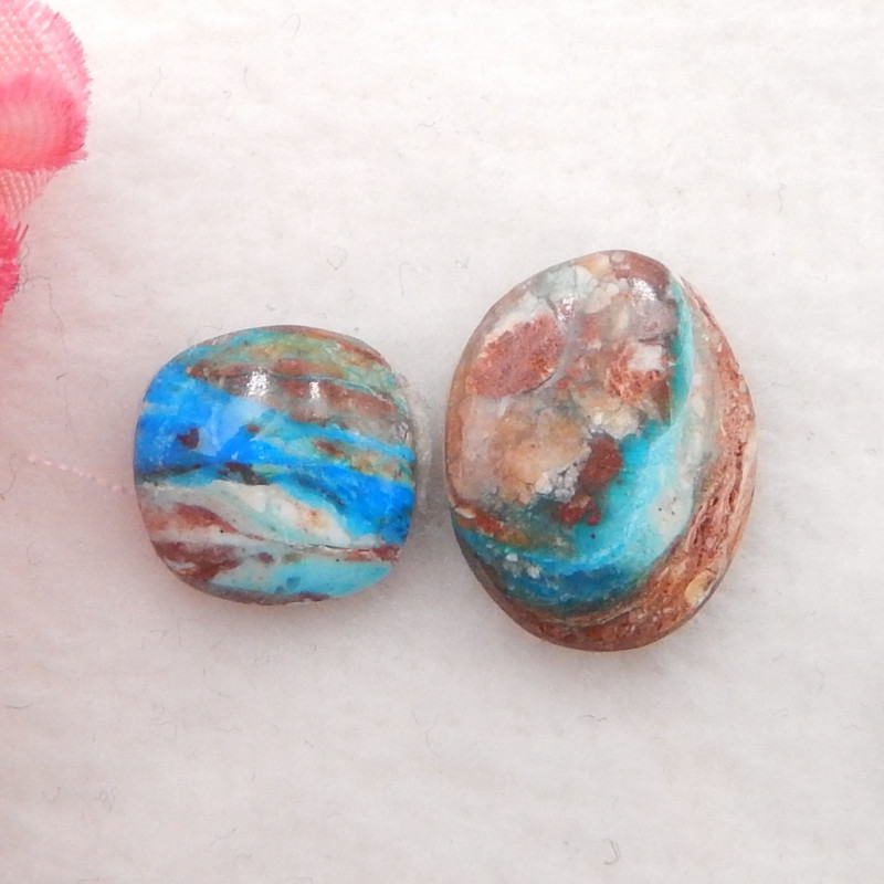 8.5cts Natural Blue Opal Cabochons, October Birthstone, Blue Opal H209