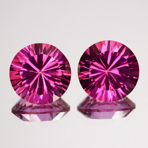 ~CONCAVE CUT~ 5.94 Cts Candy Pink Natural Topaz 8mm Princess 2 Pcs Brazil