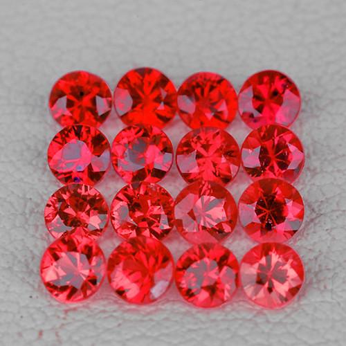 2.10 mm Round 20pcs 1.00ct Reddish Orange Sapphire [VVS]