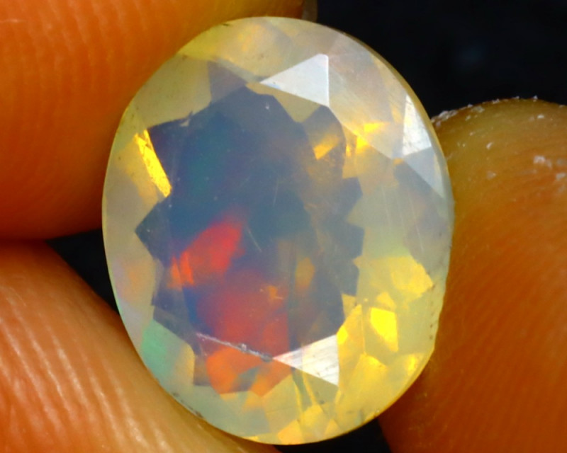 Welo Opal 1.78Ct Natural Faceted Ethiopian Play of Color Opal E2613/A28